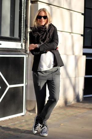 black Zara blazer - white H&M shirt - gray asoscom scarf