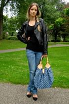 black PAUW jacket - blue H&M maternity jeans - blue Louis Vuitton bag