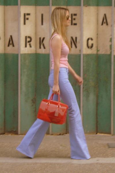 light purple MIH Jeans jeans - red candy bag Furla bag