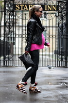 black PAUW jacket - black Topshop scarf - black Frenchonista bag