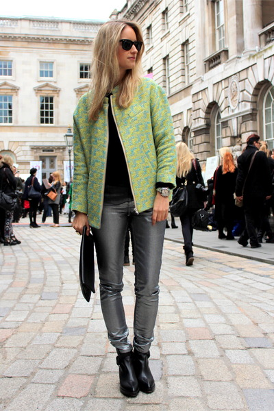 silver Zara jeans - black Alexander Wang boots - chartreuse H&M Trend jacket