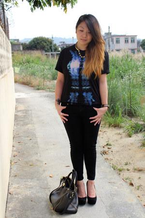 black Topshop jeans - black Zara bag - black Topshop heels