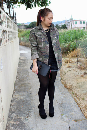 black Oasapcom bag - army green Topshop jacket - blue Forever 21 shorts