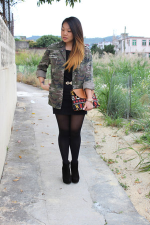 black Zara boots - army green Topshop jacket - brown Monki bag - black H&M skirt