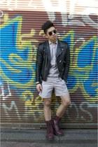 SANDRO jacket - Dr Martens boots - COS shirt - COS shorts - SANDRO sunglasses