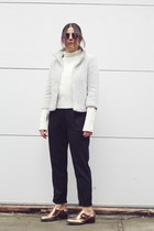 white Zara sweater - off white H&M jacket - black tapered American Apparel pants