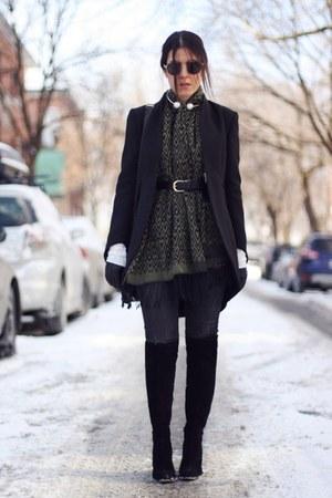 white double pearl Zara necklace - black Zara boots - black Zara coat