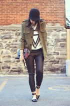 dark khaki military H&M jacket - black cap H&M hat