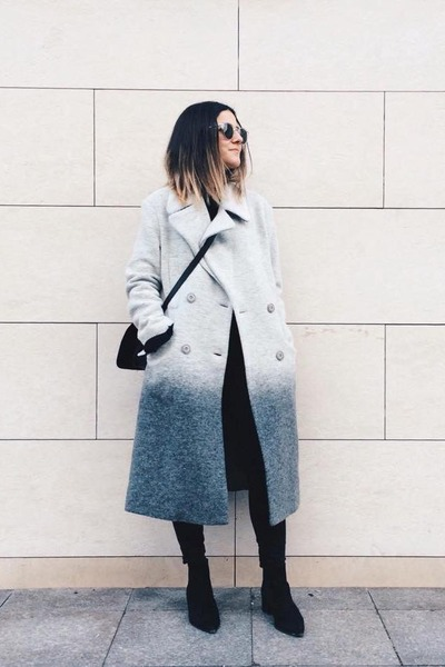 heather gray boiled wool asos coat - black acne boots