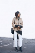black Zara boots - camel H&M jacket - gray Zara sweater - black Celine bag