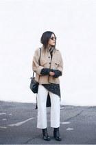 black Zara boots - camel H&M jacket - gray Zara sweater - black Celine bag