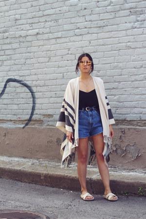 eggshell poncho asos cape - navy denim vintage shorts
