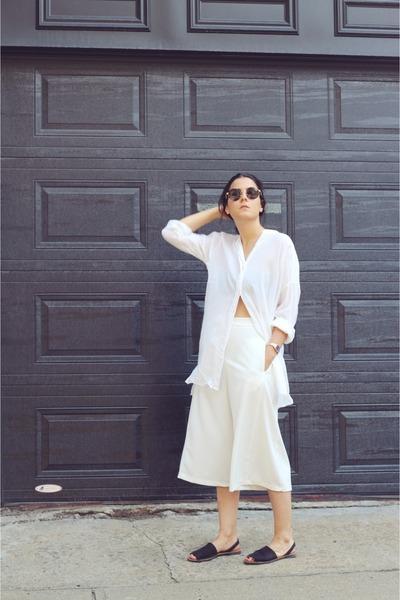 eggshell Topshop shirt - white culottes Nasty Gal pants - black Aldo sandals