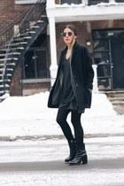 heather gray pinstripe Zara blazer - black asos boots - dark gray Zara dress