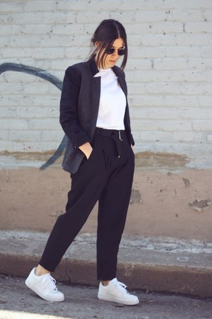 black Zara pants - charcoal gray wool H&M blazer