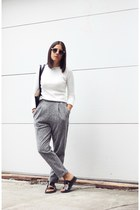 white Zara sweater - black H&M bag - heather gray asos pants