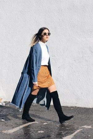 blue frayed denim Monki jacket - black Zara boots - bronze faux suede H&M skirt