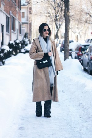 black PROENZA SCHOULER bag - camel suede Persephone vintage coat