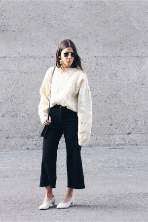 black trio Celine bag - ivory Token MTL sweater - black Stylenanda pants
