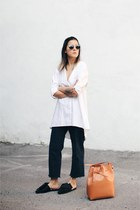 black H&M jeans - off white Need Supply shirt - tawny Mansur Gavriel bag