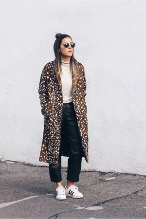brown deer print Topshop coat - black leather vintage pants
