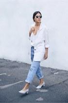cream vintage blazer - white asos top - periwinkle COS pumps