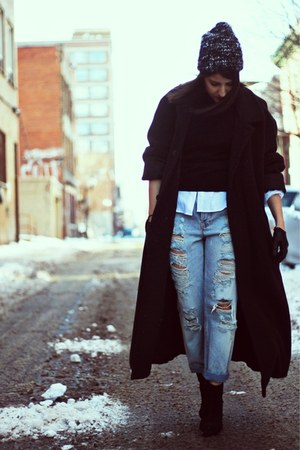 black H&amp;M boots - dark gray vintage coat - sky blue asos jeans