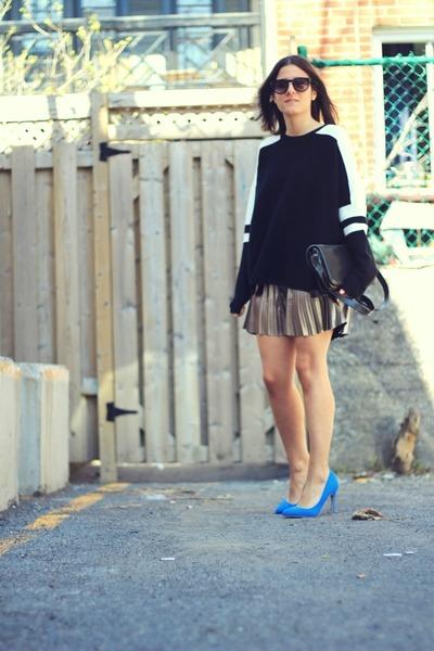 silver pleated H&M skirt - black graphic sleeve Zara sweater