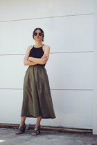 black asos top - dark khaki culottes vintage pants - silver Zara sandals