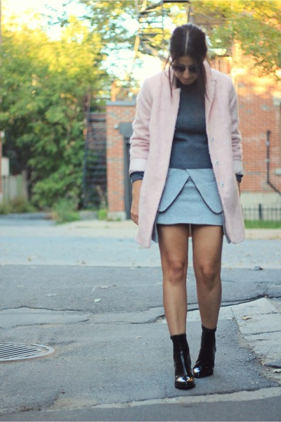 light pink Topshop coat - black Zara boots - gray Beymen sweater