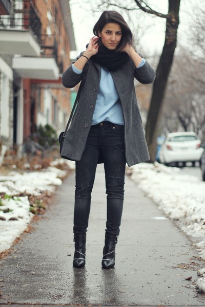 black Zara boots - charcoal gray American Apparel coat