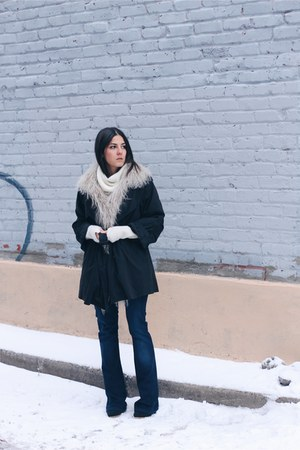 ivory H&M sweater - dark gray Ennji coat - navy flare asos jeans