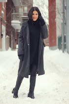 black patent leather Zara boots - dark gray Choies coat
