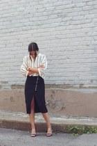 ivory striped Stylenanda shirt - black slit Cheap Monday skirt