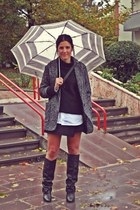 dark gray Zara skirt - black Zara boots - charcoal gray Mango coat