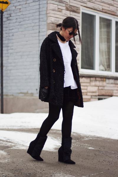 black vintage coat - black pony hair wedge Choies boots