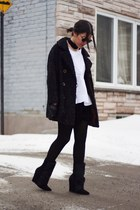 black vintage coat - black pony hair wedge Choies boots