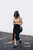 black wrap Zara skirt - brown COS sweater - black trio Celine bag