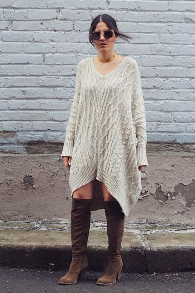 off white Mango sweater - light brown Zara boots - black Spitfire sunglasses