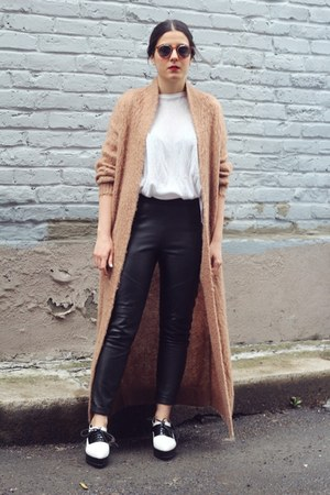 burnt orange mohair Topshop cardigan - black leather asos pants
