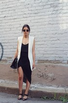 black camisole Topshop top - black Zara skirt - eggshell H&M vest