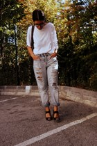 light blue ripped asos jeans - gray leather Topshop bag - black suede Zara heels