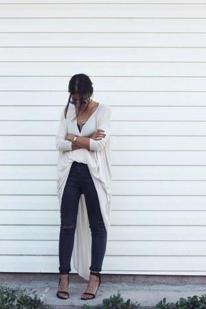 cream Nasty Gal top - black Topshop top - dark gray Topshop jeans