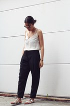 silver pool sliders JCrew sandals - black Zara pants