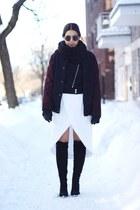 black suede knee high Zara boots - black wool biker H&M jacket
