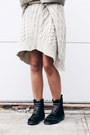 Black-ponyhair-effect-topshop-boots-ivory-sweater-mango-dress