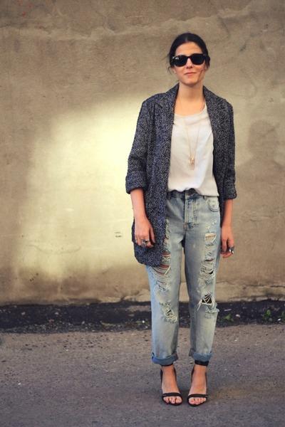 gray Mango coat - sky blue asos jeans - off white silk Topshop blouse