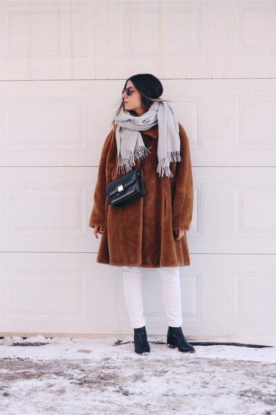 brown faux fur vintage coat - black acne boots - periwinkle COS scarf