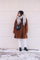 brown faux fur vintage coat - black acne boots - periwinkle COS scarf