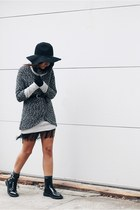 black fedora Smart Set hat - black Zara boots - periwinkle Smart Set sweater